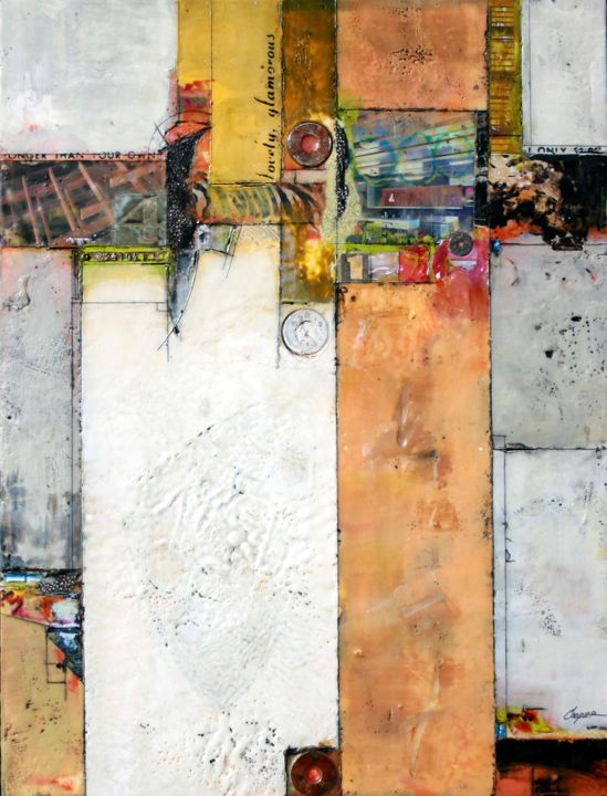 'Lovely Glamourous' by Brad Hook. Encaustic collage with ephemera. (24in x 32in)