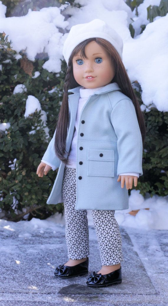 """Icy Blue Wind Chill"" 4pc Outfit-Coat, Pants, Sweater & Beret, by Noodle Clothing on Etsy  $45.94"