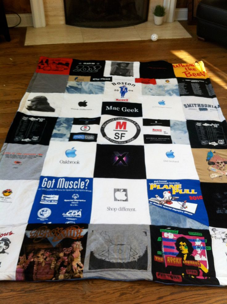 A personal favorite from my Etsy shop https://www.etsy.com/listing/92976585/custom-made-t-shirt-quilt-blanket-memory