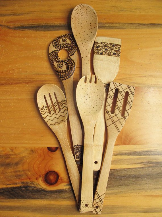 Wood burned kitchen utensils bamboo wooden spoons by HydeParkHome, $23.00