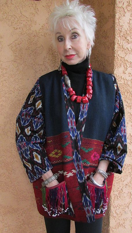 Kachin jacket on Gretchen with her Tibetan coral necklace