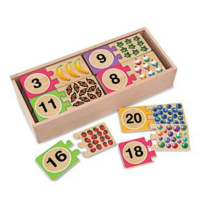Wooden Puzzle Cards (Numbers) - Help kids to learn early match concepts while having fun! Uniquely designed self-correcting puzzle prevents incorrect matches and guides children to understanding the relationship between written numbers and the actual quantities of objects. $14.98 CAD
