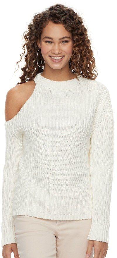 9fefa169bcc87b JLO by Jennifer Lopez Women s Ribbed One-Shoulder Sweater