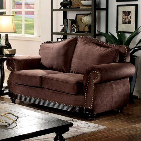 Hetty Transitional Love Seat With Nailhead Trim, Brown