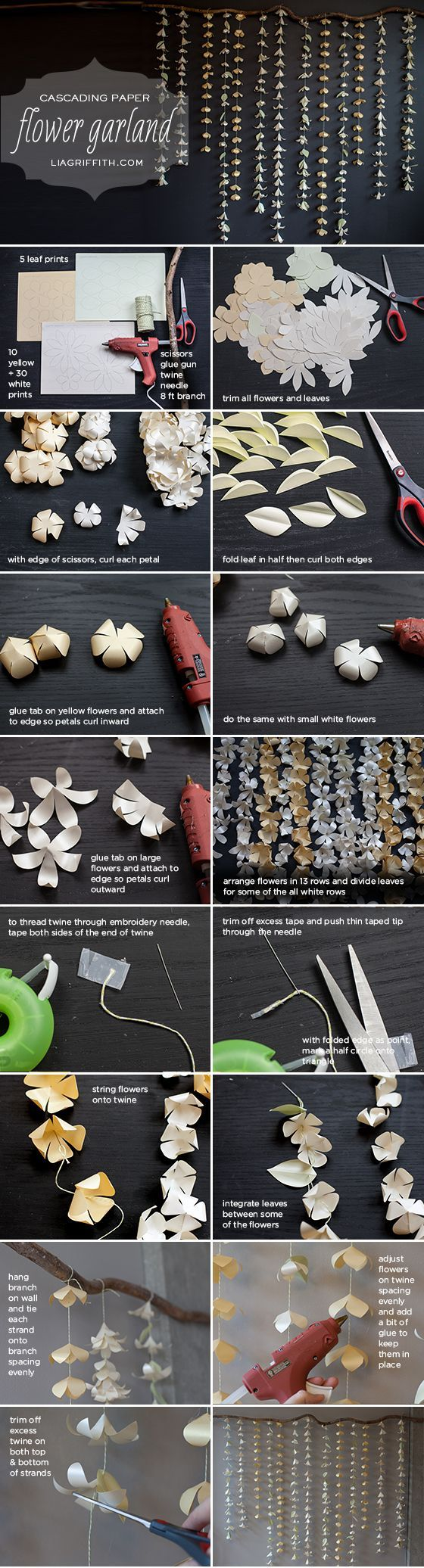 Cascading Paper Flower Garland + Tutorial  http://liagriffith.com/cascading-paper-flower-garland-tutorial/