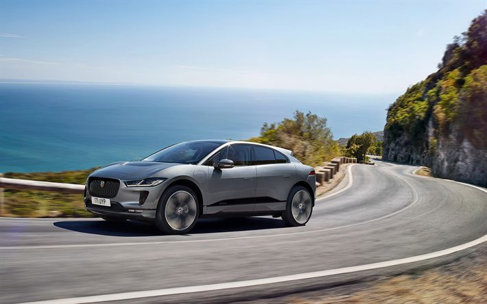 Download wallpapers Jaguar I-Pace, 2019, gray new I-Pace, crossover, exterior, front view, British cars, Jaguar
