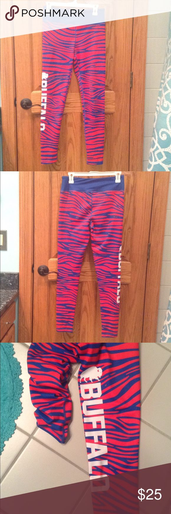 "Buffalo Bills Zebra Print Leggings Women's Buffalo Bills Zebra Print Leggings- size medium. Full length legging, moisture wicking fabric. True to size. Waist 14,"" length 37,"" inseam 28,"" and rise 10."" Preowned gently used. Store 716 Pants Leggings"
