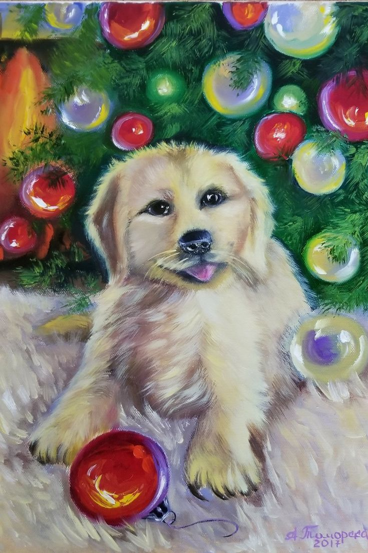"""""""Christmas Puppy"""". Original oil painting on canvas. 16"""" x 12"""". 2017. CAD75 Unframed. Ready to hang. Worldwide delivery in safe packaging. Inspired by photo Dona Gelsinger. More paintings: #caramelartgallery_forsale #christmasgift #oilpainting #originalpainting #puppy #petportrait"""