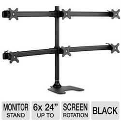"""SUPER PC SD-FS-H Freestanding Monitor Stand - Up to Six 24"""" Monitors (25"""" x 71.75"""" per Display), Screen Rotation, Strong Steel & Aluminum Construction, Black. For a solid and reliable mounting solution, choose the Atdec SD-FS-H Freestanding Monitor Stand. This excellent multi-monitor stand is an extremely durable mounting solution that can support up to six 24"""" 17.5 lbs. displays on either a freestanding low footprint base or via a bolt through mounting option."""
