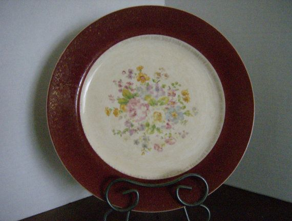 Midcentury Dinner Plate Red and Gold Rim by OlliesPlaceAntiques, $5.00