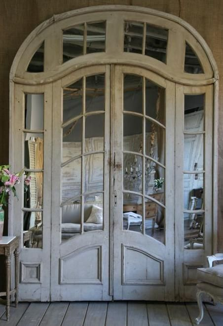 Beautiful French doors to a bedroom. Looks like a good idea. - 28 Best French Antique Door Panels Images On Pinterest Mirrors