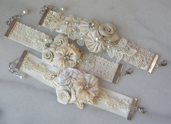 Vintage Style Bridal Cuff Custom Rustic Wedding by TheRedMagnolia