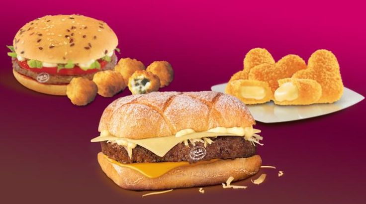McDonald's Morocco  McFondue sandwich, with a halal meat patty and a blend of melted Emmental, Gruyere and cheddar cheeses. Their snack options include the P'tit Beldi sandwich (featuring a spiced halal patty and flaxseed-topped bun) and two kinds of cheese croquettes: pepper and cheese bites or heart-shaped Emmental nuggets.