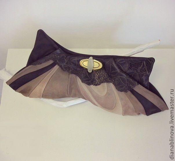 Винтаж клатч кружево - коричневый,клатч из натуральной кожи,винтажная сумка
