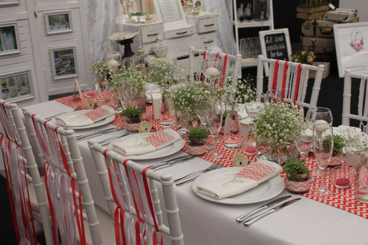 Chevron themed table setting styled by VS Events