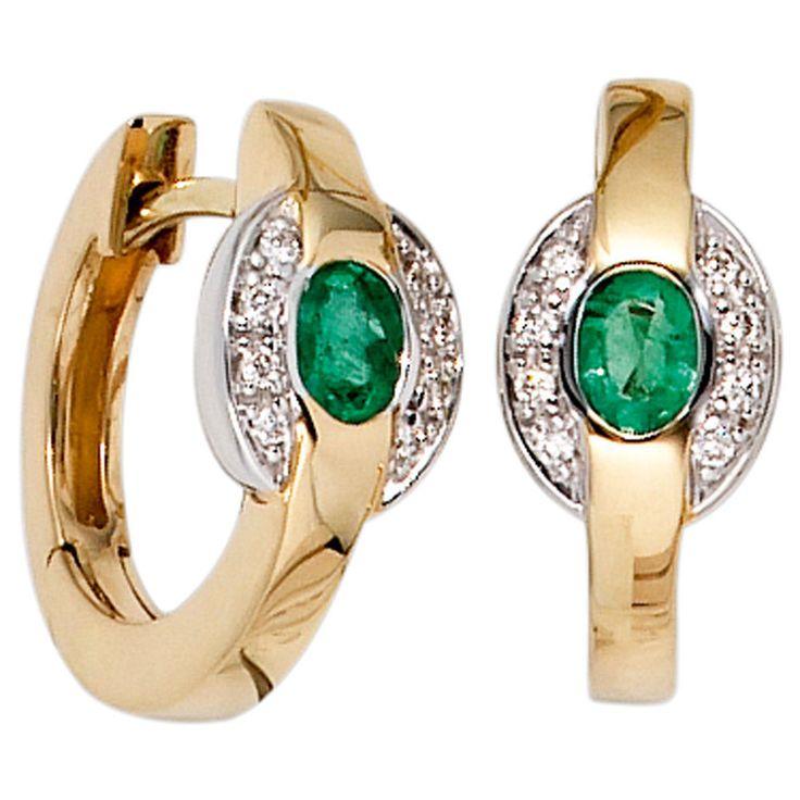 Creolen 585 Gold Gelbgold bicolor 16 Diamanten 2 Smaragde grün Ohrringe Schmuck  https://www.ebay.de/itm/Creolen-585-Gold-Gelbgold-bicolor-16-Diamanten-2-Smaragde-gruen-Ohrringe-Schmuck-/152611533129?refid=store&ssPageName=STORE:accessorize24-de