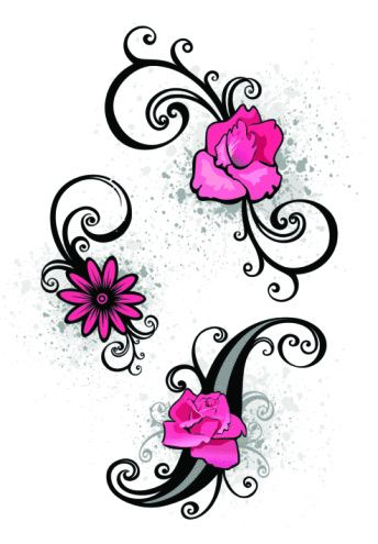 scroll Small Tattoo Designs For Women | Flower Tattoos on Foot