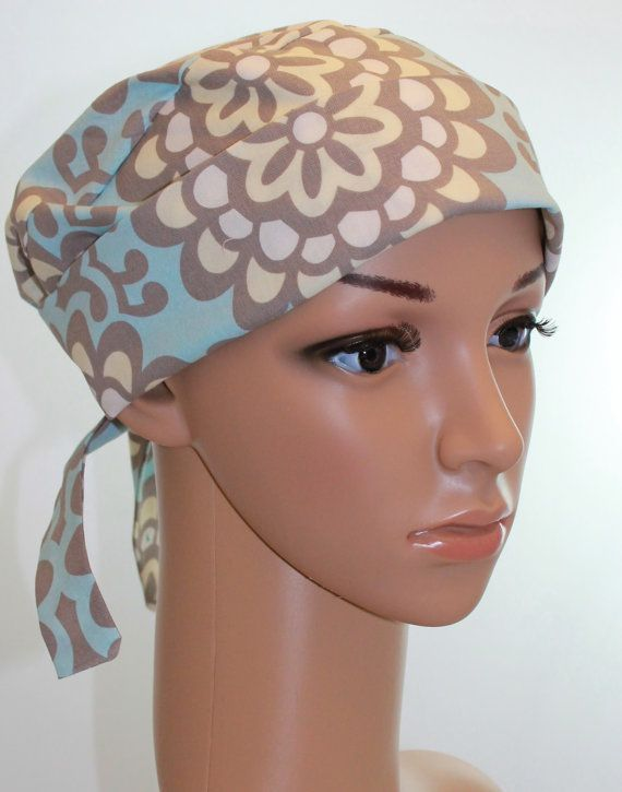 Women's Tie Back Surgical Scrub Hat/ Chemo hat with band.  Amy Butler Blue LOTUS print on Etsy, $13.00