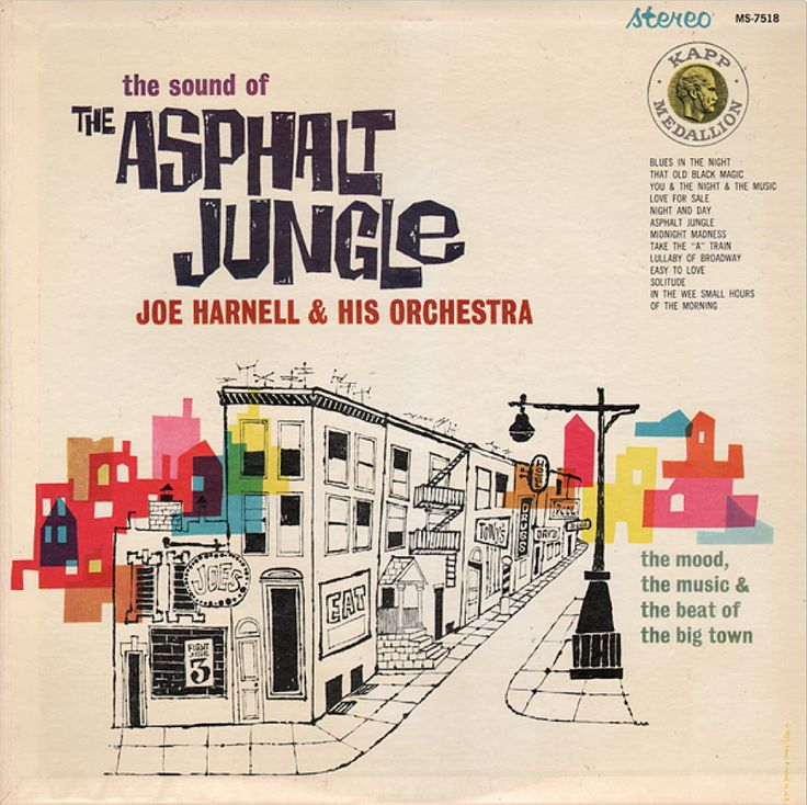 """Joe Harnell & His Orchestra """"The Sound of The Asphalt Jungle"""" (1961) LP Cover"""