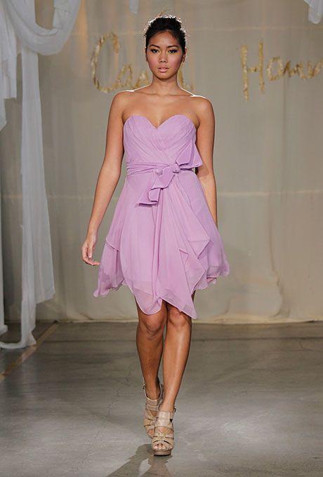 Carol Hannah Whitfield Bridesmaid lavender strapless asymmetrical dress with sash