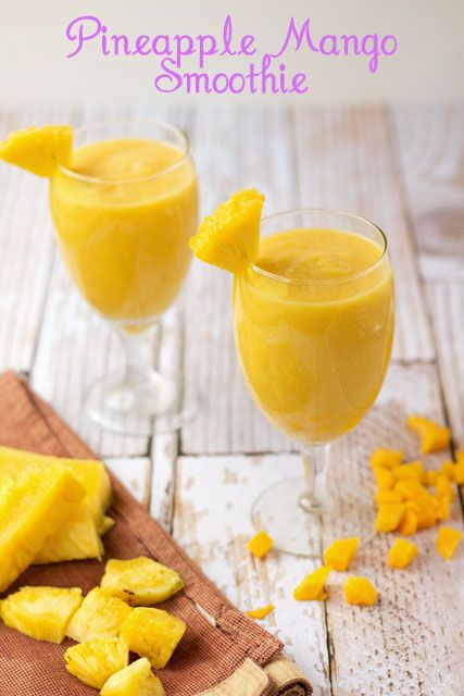 Pineapple-Mango-Smoothies   1 cup of orange juice 1 cup of fresh mango 2 cups of pineapple 1 banana 4 tablespoons of cream of coconut 2 tablespoons of honey Ice-optional Directions  Add all ingredients to a blender and blend until smooth. Makes 2 servings Enjoy.