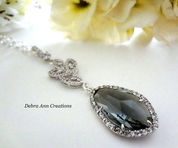 Grey Crystal Necklace Charcoal Grey Wedding by DebraAnnCreations