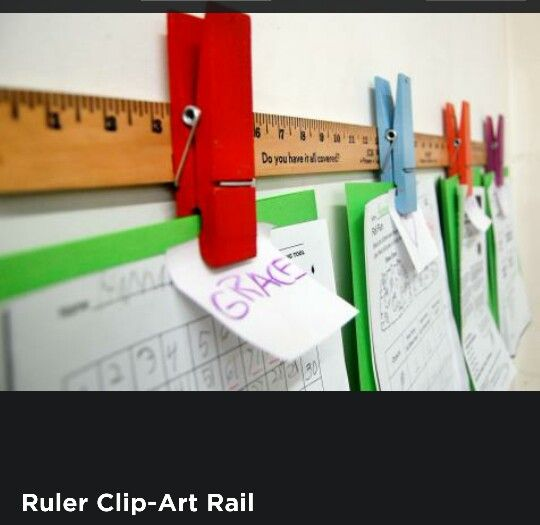 Ruler display.  Use a ruler or yardstick and clips to make a cool display piece. The clips can change the whole feeling of this piece.  Use clips in primary colors for a kids room or use binder clips for a more industrial look. Hang pictures, hand made art, cool cards or whatever you like.  Depending on the size it can be quite a statement!