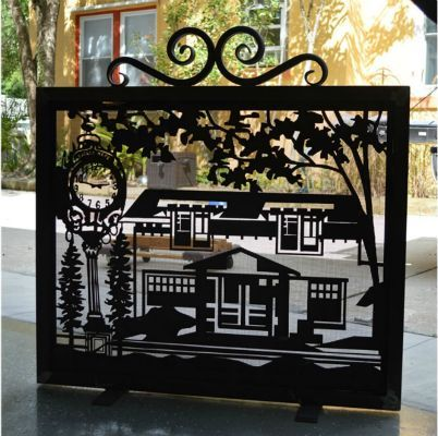 Fireplace Screen Photo Gallery | Local Landmark in Custom Fireplace Screen FP-14 by NatureRails