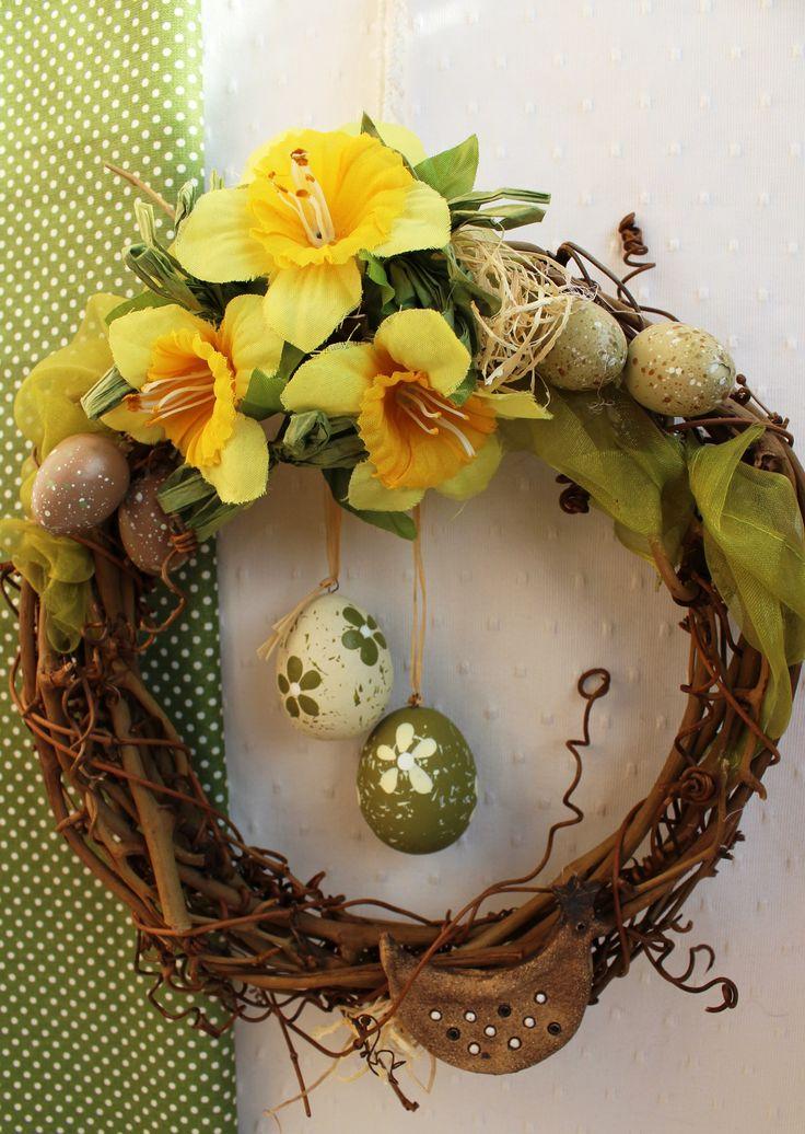 """Věneček+""""Veselé+Velikonoce""""+dekorace,+věnec+k+zavěšení+průměr+22+cm"""