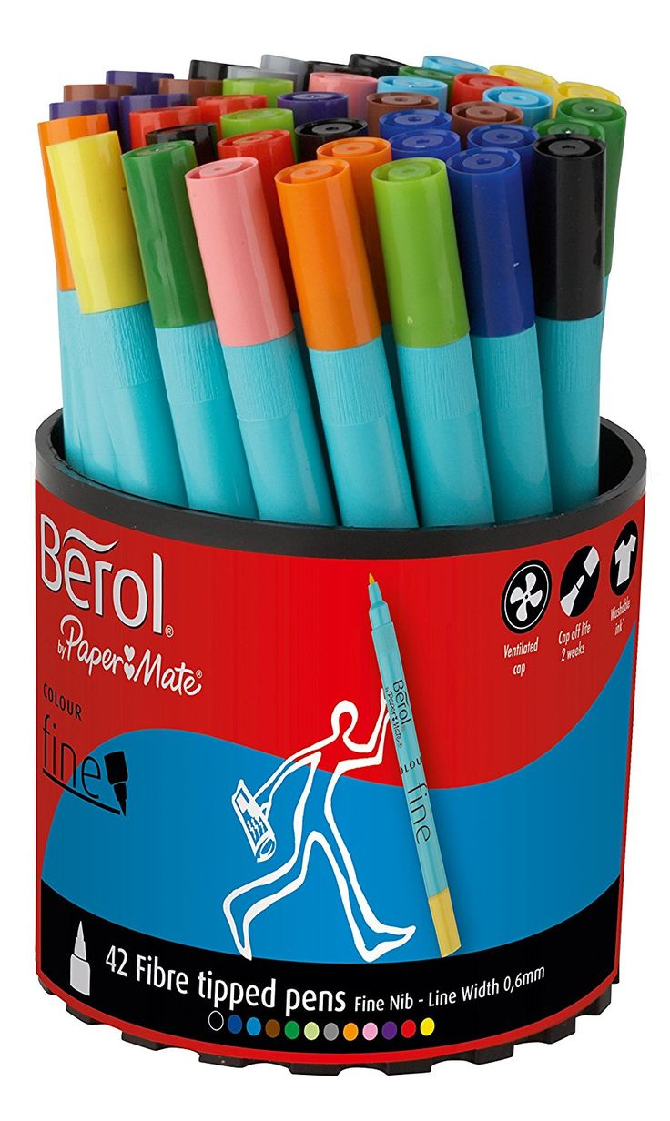 Berol Colour Fine Fibre Tipped Pen with 0.6 mm Line Width - Assorted Colours, Pack of 42: Amazon.co.uk: Office Products