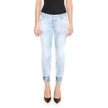 Blugi DSQUARED2 Jeans Flare BLUE DENIM dama - Alege o pereche de blugi albastru deschis pentru a te simti comoda intr-o zi cu soare