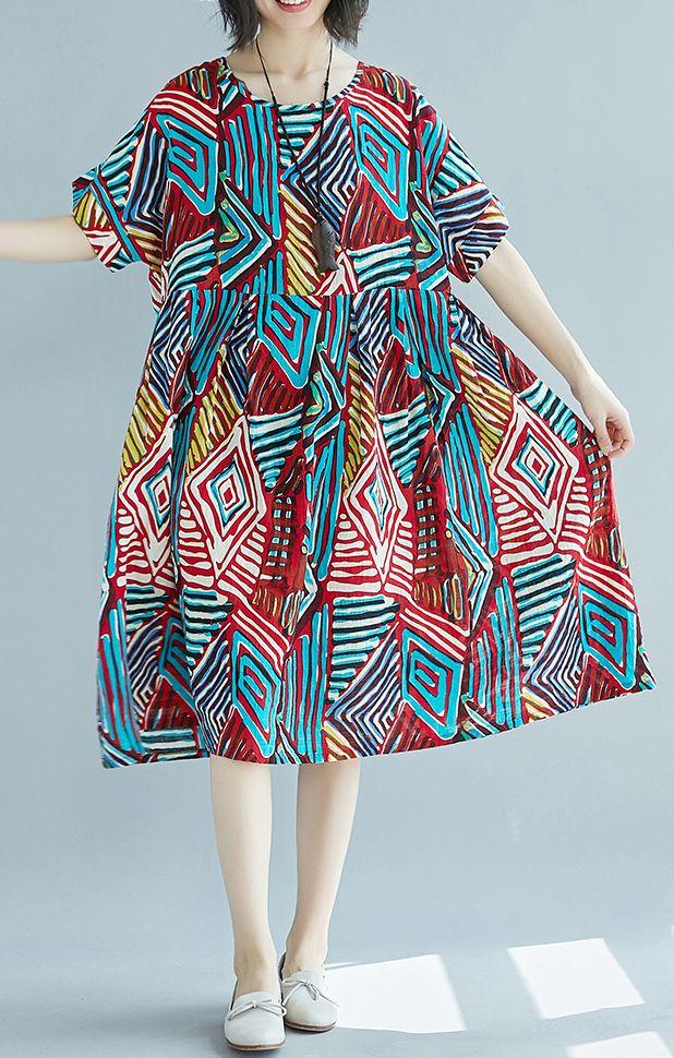54e45635b48 red prints linen shift dress plus size clothing traveling clothing Elegant  o neck patchwork linen cotton dress
