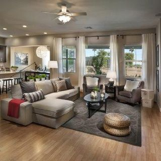 Living room beige and grey combo i like this layout Open floor plan living room furniture arrangement