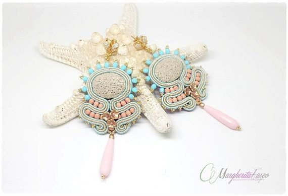 Shabby chic soutache handmade earrings by 75marghe75 on Etsy