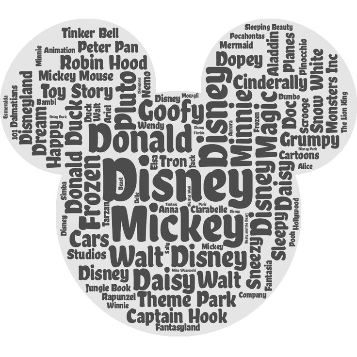 This photo could be a combination of a logo and a word cloud but Mickey Mouse's head is not Disney's official logo. The shape of the Mickey's head was achieved with the names of other popular Disney characters.