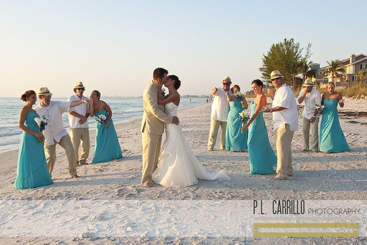 A Sunset Beach Wedding • Wedding Party Pose. P.L. Carrillo Photography