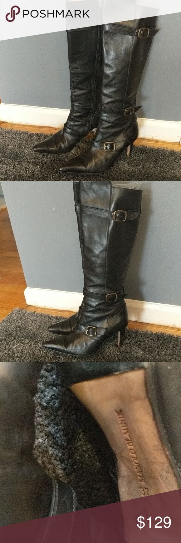 Authentic Manolo Blahnik tall boots Authentic Manolo Blahnik black leather boots. Come to knee. Buckles on the side. Inner side zipper. Tan interior. Great condition. Size 37. These were always a little tight for me so I purchased a 38, need to gives these a new home. boots have had soles redone. Manolo Blahnik Shoes Heeled Boots