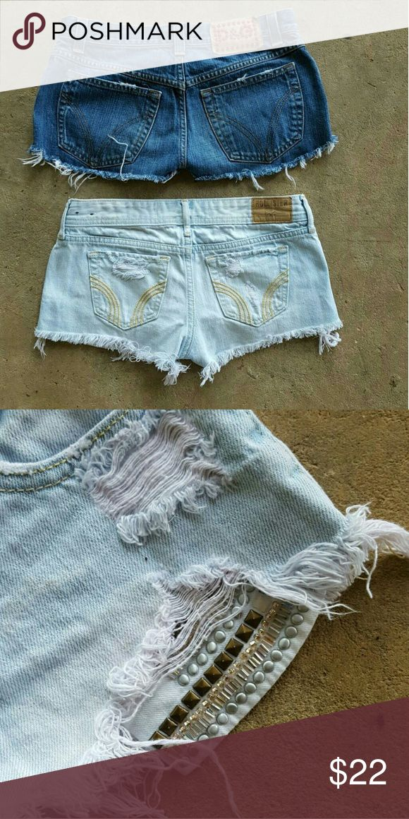 🎊 HOLLISTER & DOLCE & GABANA mini shorts  🔥🔥🔥 💎💎*Rhinestones on D&G shorts are red ❤ ... The embleshiments on the Lite Blue Hollister shorts are Bronze and Silver .  * D&G shorts are size 26 but they fit more like size  24*  📣 Can be sold separately Hollister Shorts