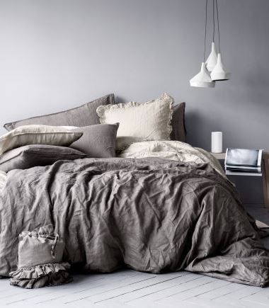 Bedroom gray - love the gray, accent it with some lighter toned lavender