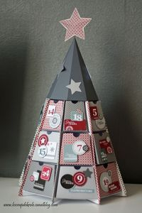 calendrier de l'avent - forme original sapin - clean and simple c&s - gris blanc rouge - Le Scrap de Krole