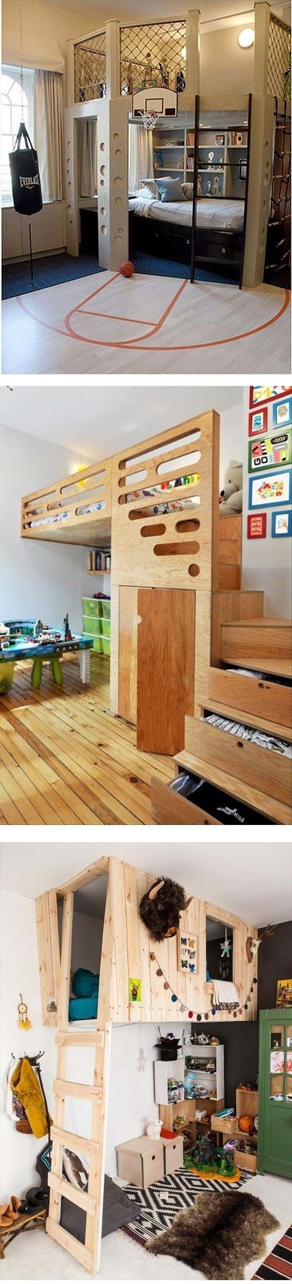 Love the floating bed in the last picture, but it'd be a pain in the butt to make the bed...>>>Kids Bedroom Ideas Brought To Life | Rotten Panda
