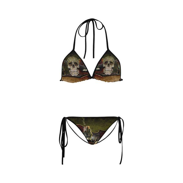 Funny Skull and Book Custom Bikini Swimsuit