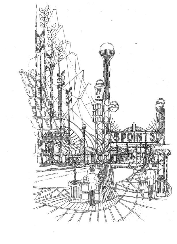 1990 Atlanta Competition,USA-CONCEPTUAL AND ARCHITECTURAL DESIGN AND DRAWING BY ANDREW LUDEW