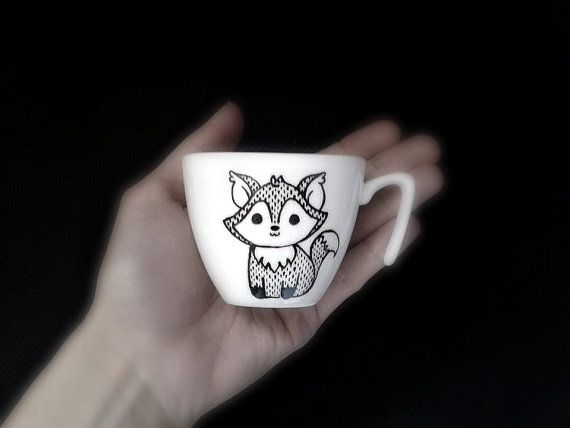 Fox   espresso cup  black  hand painted by vitaminaeu, €11.00