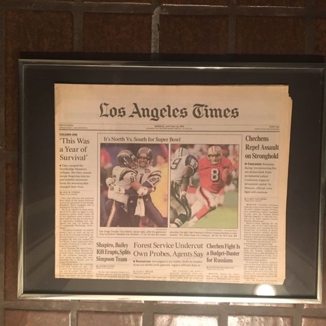 1995 NFL SUPERBOWL San Diego Chargers and San Francisco 49ers  2 Cali Teams