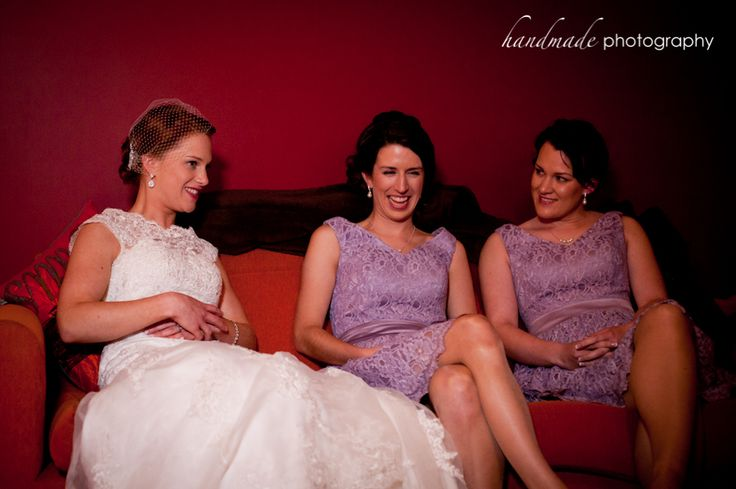 Bride relaxing with Bridesmaids