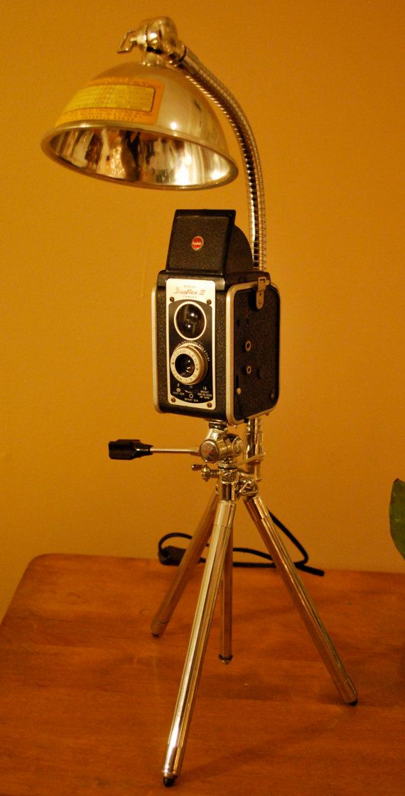 vintage kodak tlr camera repurposed into a by upcycledlighting 19900