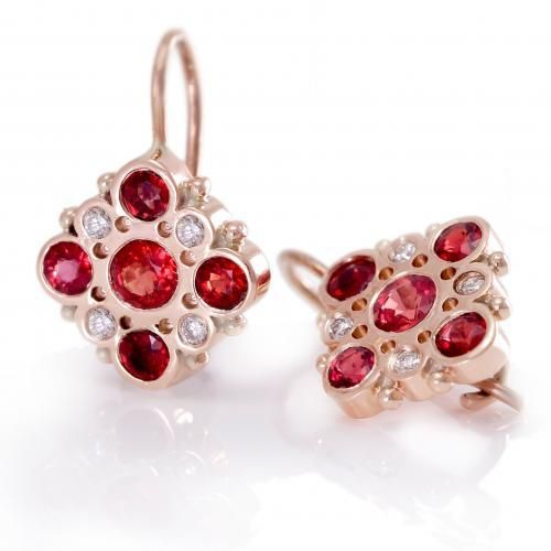 Victorian Red Sapphires and Diamonds Earrings