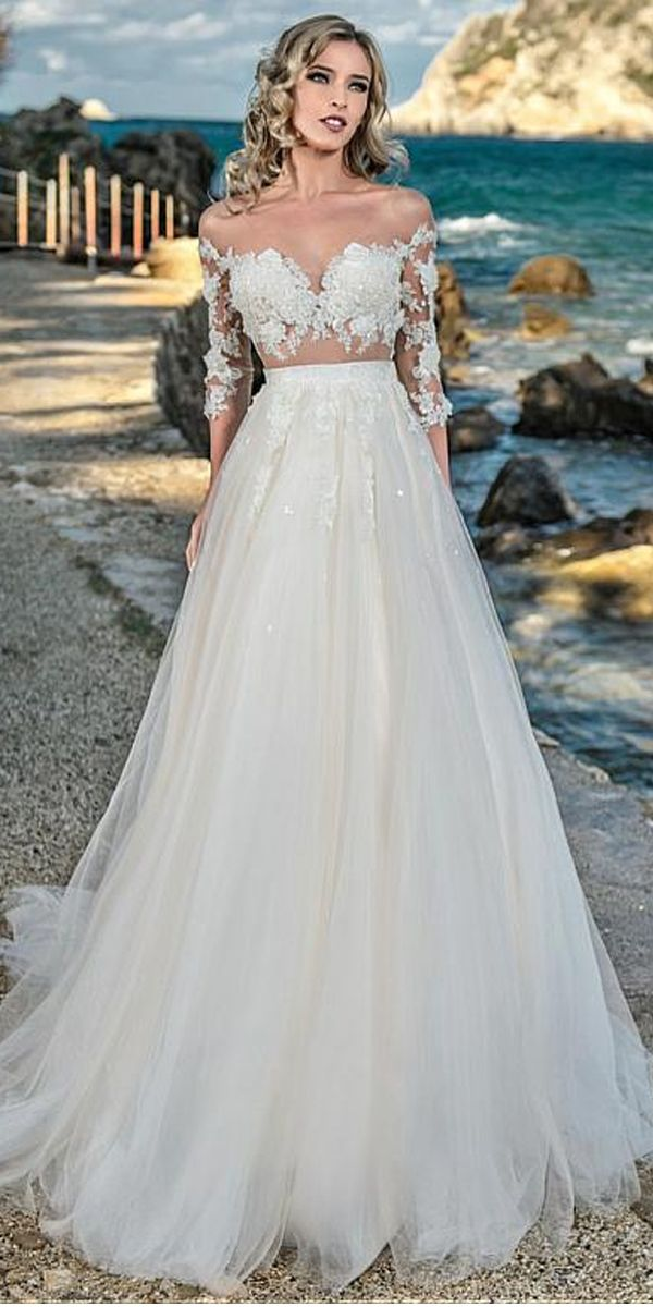 Charming Tulle V-neck Neckline See-through Bodice A-Line Wedding Dress With  Beaded Lace Appliques 7cfa22c9e02e