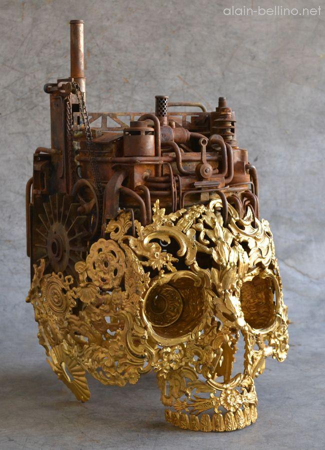Alain Bellino : Deus ex machina. Bronze skull.
